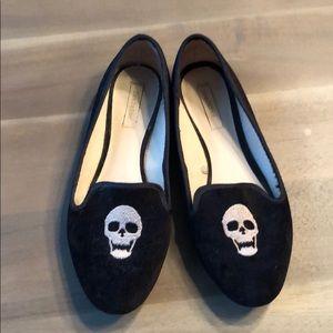 Zara velvet skull smoking slippers
